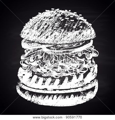 Chalk painted guacamole burger. Burger menu theme.