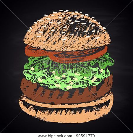 Colored chalk painted guacamole burger. Burger menu theme.