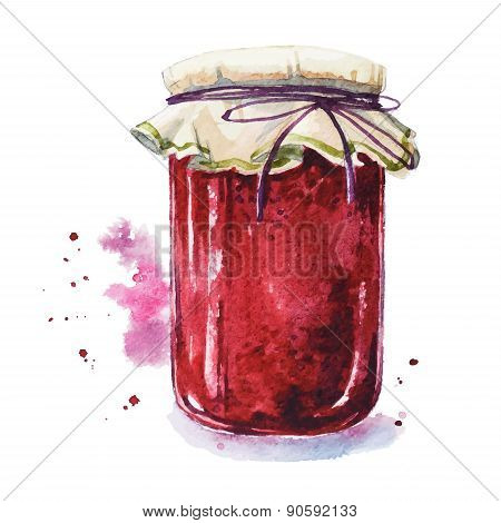 Fruit jam. Mason jar. Watercolor. Hand painted.