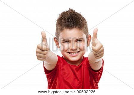 Standing Young Cool Boy Doing Thumbs-up