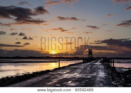 The Causeway to Holy Island. Northumberland, England.