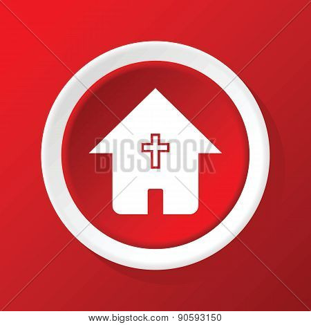 Christian house icon on red