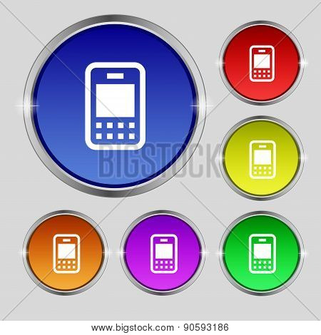 Mobile Telecommunications Technology Icon Sign. Round Symbol On Bright Colourful Buttons. Vector