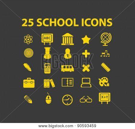 25 school icons set, vector