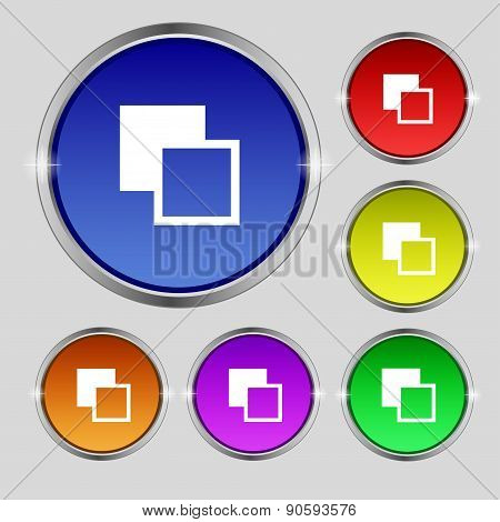 Active Color Toolbar Icon Sign. Round Symbol On Bright Colourful Buttons. Vector