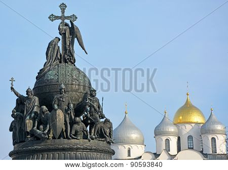 Sofia Cathedral And Monument For Russia Millennium In Veliky Novgorod