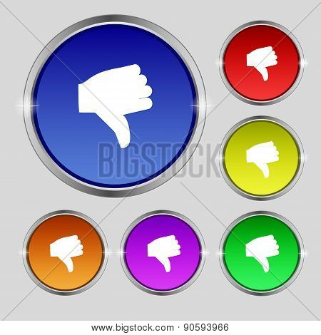 Dislike, Thumb Down Icon Sign. Round Symbol On Bright Colourful Buttons. Vector