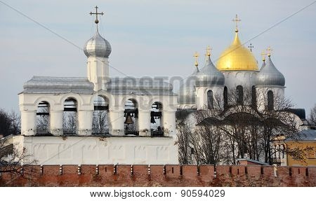 Veliky Novgorod- Ancient Belfry And St. Sofia Cathedral. View From Volkhov River