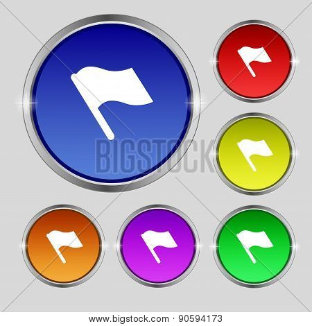 Finish, Start Flag Icon Sign. Round Symbol On Bright Colourful Buttons. Vector