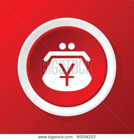 Yen purse icon on red