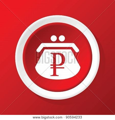 Ruble purse icon on red