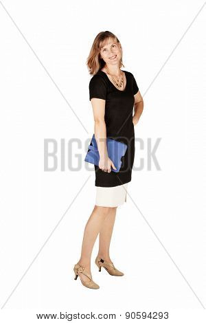 Business woman in classic black and beige dress isolated on white background