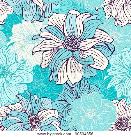 Hand-drawn Flowers Of Dahlia