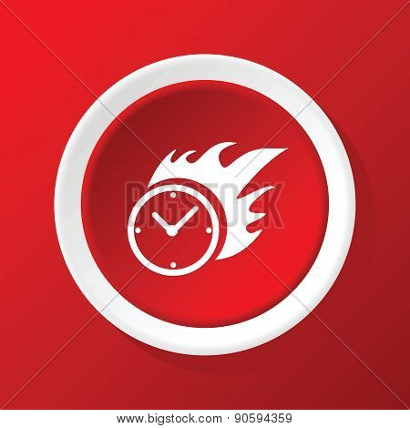 Burning clock icon on red