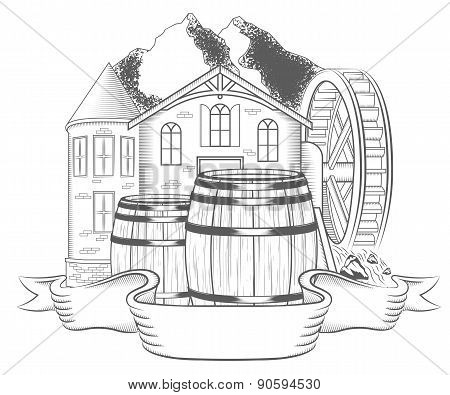 Vector Illustration Old Mill