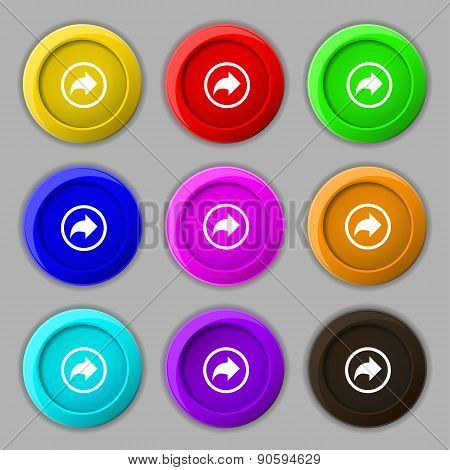 Arrow Right, Next Icon Sign. Symbol On Nine Round Colourful Buttons. Vector