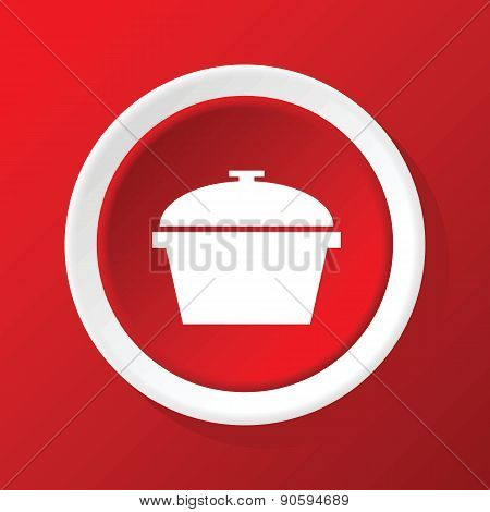 Pot icon on red