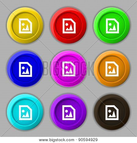 File Jpg Icon Sign. Symbol On Nine Round Colourful Buttons. Vector