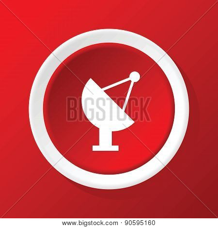 Satellite dish icon on red
