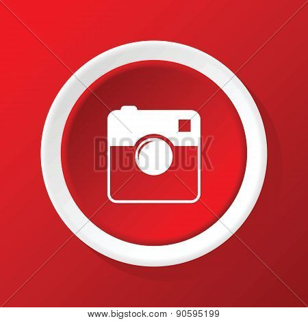 Square camera icon on red