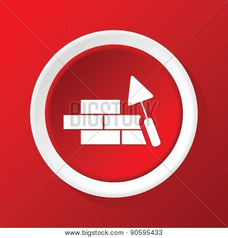 Building wall icon on red