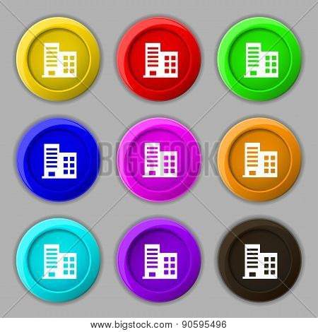 High-rise Commercial Buildings And Residential Apartments Icon Sign. Symbol On Nine Round Colourful