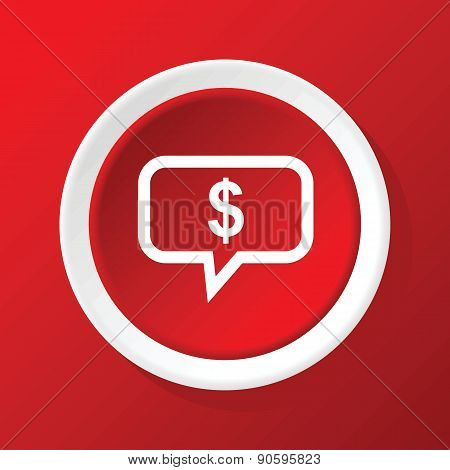 Financial message icon on red