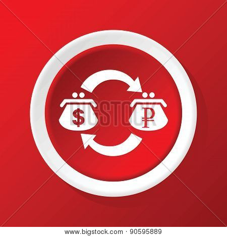 Dollar-ruble exchange icon on red