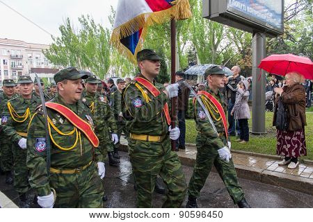 Donetsk - May, 9, 2015: Soldiers Donetsk People's Republic