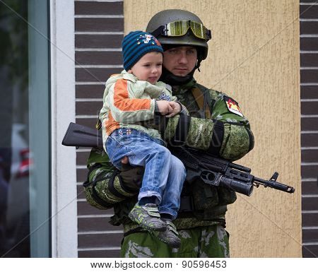 Donetsk - May 9, 2015: Soldier Army Donetsk People's Republic