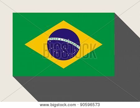 Brazil flag in flat web design style.