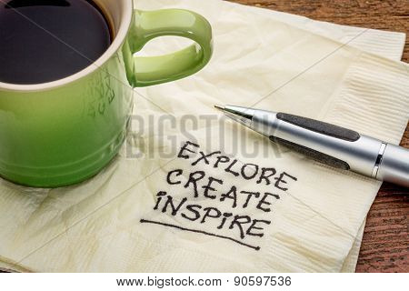 explore, create, inspire - motivational words handwritten on a napkin with a cup of espresso coffee