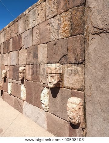 Face Wall At Tiwanaku, Altiplano, Titicaca Region, Bolivia
