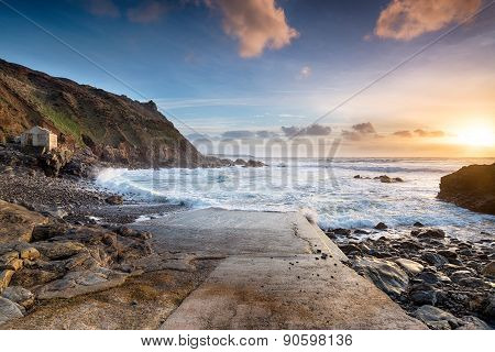 Sunset At Priest's Cove On Cape Cornwall Near Land's End