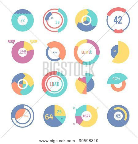 Set of different pie charts.