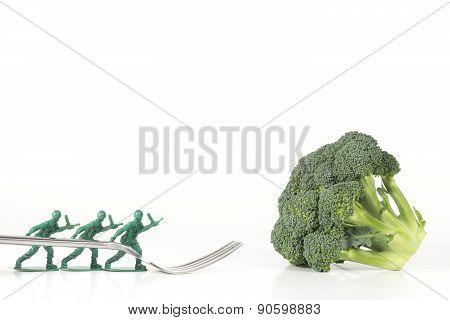 Army Men Broccoli Fork