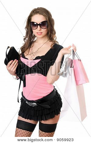 Happy Young Woman After Shopping. Isolated