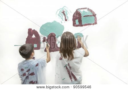 Brother And Sister Painting A Picture.
