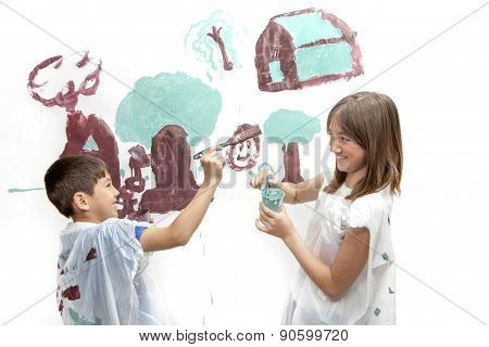 Siblings Playing While Painting