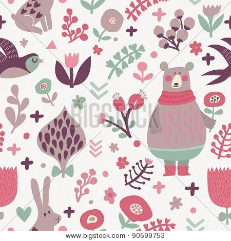 Stunning seamless pattern with birds swallows, rabbits, bear and leafs with flowers. Lovely floral background with cute animals and birds in popular colors in vector