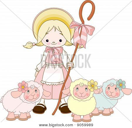 Shepherdess Mary Herding Sheep