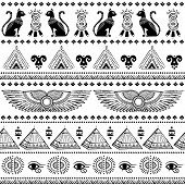 stock photo of hieroglyphic symbol  - Vector black and white tribal ethnic seamless pattern with Egypt symbols - JPG
