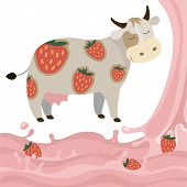 picture of milk products  - Berry Fruit Milk Cow Splash vector illustration cartoon Dairy products with strawberries Elements isolated on a white background - JPG