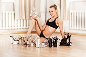 pic of pole dance  - Young Slim Pole Dance Blond Woman smile - JPG