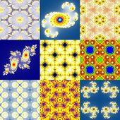 image of mandelbrot  - Set of fractal floral patterns textures or backgrounds - JPG
