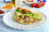 picture of tacos  - Tasty taco on plate on table close up - JPG