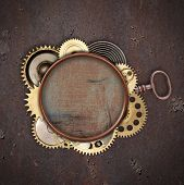 picture of alloy  - Vintage industrial mechanical background on metal background - JPG