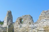 image of fortified wall  - Ruins of ancient fortress wall in the museum of Chersonesos in Sevastopol town - JPG