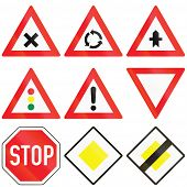 image of priorities  - Most common traffic signs in Austria including stop sign general danger and priority - JPG