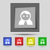foto of female toilet  - Female Woman human Women toilet User Login icon sign on the original five colored buttons - JPG